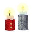 set of cute christmas candles with knitted covers vector image vector image
