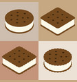set of ice cream sandwich cookie collection vector image