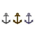 set three nautical anchor logo icon maritime vector image vector image