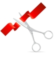 Silver Scissors Cut Red Ribbon vector image vector image