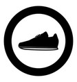 sport shoes icon black color in circle vector image vector image
