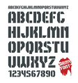 Stencil plate military font and numeral vector image vector image