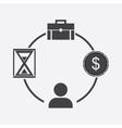 business icon businessman time money portfolio vector image