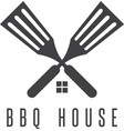 house of bbq negative space concept vector image