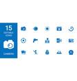 15 camera icons vector image vector image