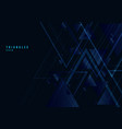 abstract blue triangles shape and lines on black vector image vector image