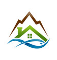 abstract lake house fish mountain logo symbol vector image
