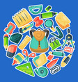 backpack stationary round pattern kids school vector image