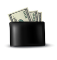 Black leather wallet with money vector image vector image