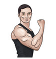 bodybuilder in front double biceps pose vector image