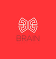 brain logo design template in linear style vector image