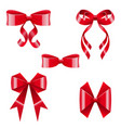 brilliant silk red bows set vector image vector image