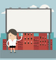 businesswoman standing in front of large billboard vector image