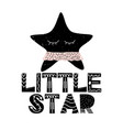 card with lettering little star and starfish in vector image