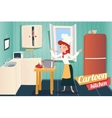 Cartoon Apartment Kitchen Interior House Room vector image vector image