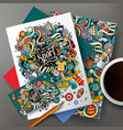 cartoon doodles sport corporate identity set vector image vector image