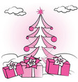 christmas fir tree and gifts vector image