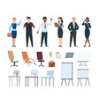 corporate people office interior furniture vector image