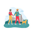 couple traveling with dog young man and woman vector image vector image