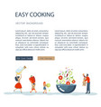 easy cooking landing page website template vector image vector image