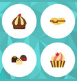 flat cake set of sweetmeat cake cupcake and vector image vector image