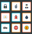flat icons virus policeman explosive and other vector image vector image
