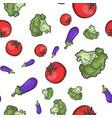 fresh vegetables seamless pattern sketch vector image vector image