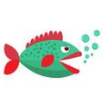 green cartoon fish flat icon vector image vector image