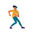 guy listen music and dance smartphone headphones vector image