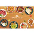 halal food on a wooden background halal food vector image vector image