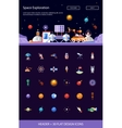 header with modern flat design space icons vector image