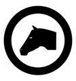 horse head icon black color in circle vector image vector image
