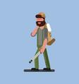 hunter walking with gun and jacket vector image vector image