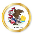 illinois flag button vector image vector image