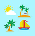 island escape icon set vector image