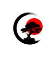 japanese bonsai tree logo black plant silhouette vector image vector image