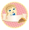 label with little girl vector image vector image