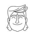 man with long hair smiling black and white vector image vector image