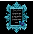 Metal blue decoration frame with the flower vector image