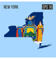 new york map border with flag eps10 vector image