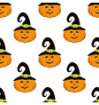 pattern with pumpkin in hat vector image vector image