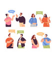 people man woman characters talking together vector image