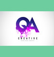 qa q a purple letter logo design with liquid vector image vector image