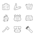Rest on nature icons set outline style vector image vector image