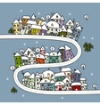 Road and houses winter cityscape cartoon for your vector image vector image