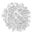 round city buildings world planet vector image