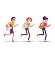 runnig women with folders vector image vector image