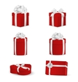 Set of red gift boxes with white bows and ribbons vector image