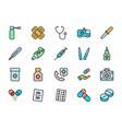 set pharmacy flat color icons throat spray vector image