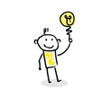 simple stick figure with great idea vector image vector image